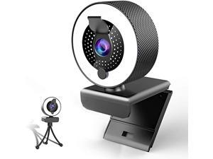 2k Webcam with Microphone Ring Light-HD Web Cam with Privacy Cover&Tripod forDesktop/Laptop/PC/MAC,Web Cameras for Computers, Skype, YouTube, Zoom, Xbox One, Studying, Conference and Video Calling