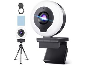 HD Webcam with Ring Light & Tripod & Microphone, HD Streaming Web Camera with Cover-USB AutoFocus Adjustable Brightness PC Video Conference/Call/Teaching/Gaming, Laptop/Desktop Mac Zoom/Skype