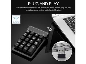 2.4Ghz Wireless Numeric Keypad Mechanical Feel Number Pad Keyboard 19 Keys w/ USB Receiver Water-proof for Laptop Desktop PC Notebook Black