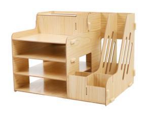 WEI&WEN Wooden Office Desk Organizer Set, Home Office Supply Storage Rack
