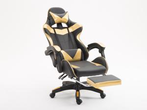 WEI&WEN Gaming Chair, Office Computer Game Chair, Height Adjustment Recliner Swivel Rocker with Headrest and Lumbar Pillow E-Sports Chair (Black/Gold)