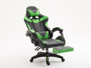 WEI&WEN Gaming Chair, Office Computer Game Chair, Height Adjustment Recliner Swivel Rocker with Headrest and Lumbar Pillow E-Sports Chair (Black/Green)