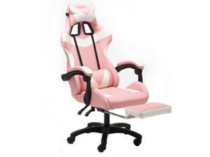WEI&WEN Gaming Chair, Office Computer Game Chair, Height Adjustment Recliner Swivel Rocker with Headrest and Lumbar Pillow E-Sports Chair (Black/Pink/White)