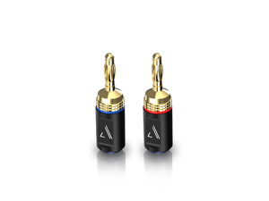 Austere V Series Banana Adapters 2-Pair \\ Pure Gold Shield To Prevent Copper Wire Oxidation, High-Performance Adapters With SecureLatch & Twist-By-Hand Design