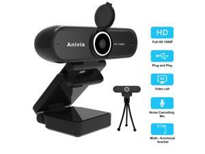Anivia 1080P Full HD Webcam With Lens Cover - Pro Web Camera With Stereo Microphone - USB Plug And Play PC Laptop Desktop Mac Video Calling, Conference Live(tripod not included)
