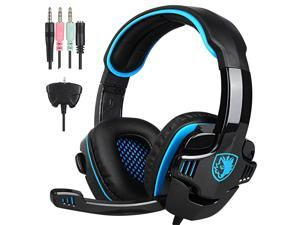 SA708GT Wired 3.5mm Gaming Headset-Stereo PS4 Headphone with Microphone,PC/Laptop/Xbox 360(Blue)