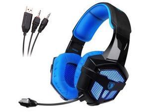 SADES SA806 3.5mm Stereo Gaming Headset +USB Blue Led Lighting Headsets with  With Flexible Microphone and Deep Bass for Pc/Mac/Table/Notebook(Black and Blue)