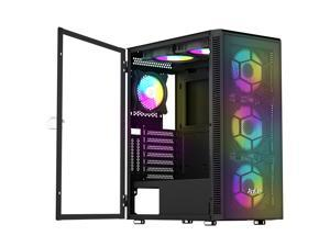 ATX Mid-Tower PC Gaming Case, Pre-Installed 6PCS Rainbow LED Fans Opening Tempered Glass Panel & Mesh Front Panel Airflow Gaming PC Tower -USB3.0 - Support ATX,Micro ATX,ITX Black