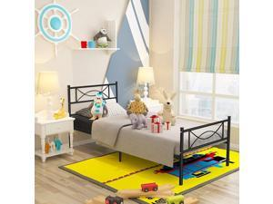 Platform Steel Bed Frame Twin Size Bed Mattress Foundation Support with Headboard and Footboard No Box Spring Need Metal Platform Bed