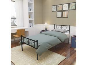 Metal Twin Size Bed Frame with Storage Headboard/Footboard (White)