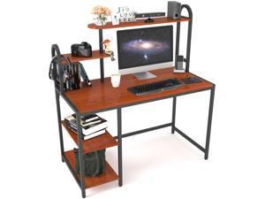 Computer Writing Desk with Bookshelf,Home Office Working Table with 2 Shelves, Sturdy Wooden Desk for Vanity Study Gaming, Easy Assemble