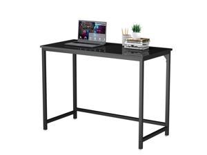 Small Computer Desk Study Writing Desk for Home Office 39 Inches Metal Leg Black