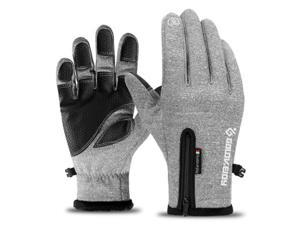 Outdoor waterproof gloves for men and women with touch screen in winter, windproof and warm, full-finger zipper sports and velvet alpine skiing, gray XXL size