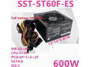 New PSU For SilverStone Brand ATX Non-modular 80plus EU Game Mute Power Supply 600W Power Supply SST-ST60F-ES