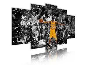 "5 Pieces Canvas Painting Black White Style Kobe Basketball Painting, Bedroom Living Room Office Wall Decoration Painting Art HD Poster, Christmas Birthday Wedding Gift (Total Size : 84""W X 40""H)"