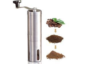 Manual Coffee Grinder with Adjustable Setting - Conical Burr Mill & Brushed Stainless Steel Whole Bean Burr Coffee Grinder for Aeropress, Drip Coffee, Espresso, French Press, Turkish Brew