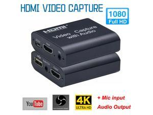 1PC HDMI Video Capture Card Device USB 2.0 4K 1080P Loop Out Audio Capture Card Live Streaming Recording for PC PS4 HD Game Capture
