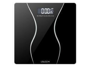 Premium Bathroom Scale, Highly Accurate Digital Bathroom Body Scale, Large LED Display, Auto On/Off, Auto Zeroing, Tempered Glass Surface, Black, lbs/kg, Precisely Measures Weight up to 400 lbs