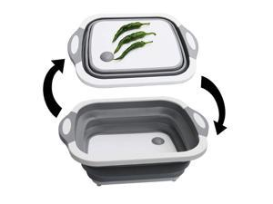 Collapsible Plastic Foldable Sink Colander/Vegetable Drain Basket/Dish Tub and Chopping/Cutting Board with Plug for Kitchen Outdoor