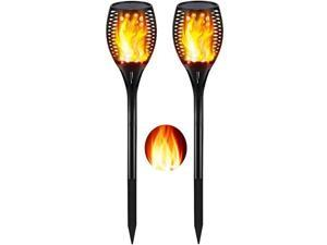 Solar Lights Outdoor Upgraded Dancing Flame Lighting 96 LED Dusk to Dawn Flickering Torches Outdoor Waterproof Garden