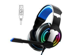 USB Gaming headset for PC/MAC, Wired Gaming Headphones with 7.1 Surround Sound, Noise Canceling Microphone and RGB Light, 50mm Driver, Compatible with Desktop, Black