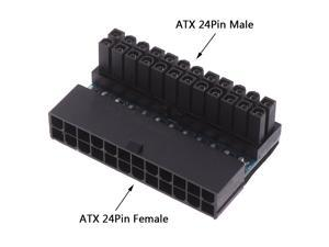ATX 24Pin 90 Degree 24 Pin To 24pin Power Plug Adapter Mainboard Motherboard Power Connectors Modular For Power Cables Supply
