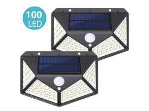 2 PCS Solar Lights Outdoor 100 LED, SUNZOS 1800 mAh Super Bright Solar Security Light Motion Sensor, 270°Wide Angle, IP65 Waterproof Solar Powered Lights for Garden, Yard, Walkway and Outside