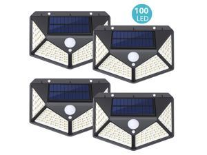 4 PCS Solar Security Light Motion Sensor, SUNZOS 100 LED Solar Lights Outdoor with 3 Intelligent Modes, 270°Wide Angle, IP65 Waterproof Solar Wall Lights for Garden, Yard, Walkway and Outside
