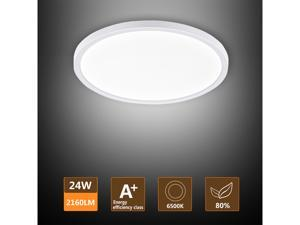 LED Ceiling Light, Ouyulong 24W 2160LM 6500K 0.9 Inch Thickness Round Non-dimmable Ceiling Light Fixture for Kitchen, Bedroom, Living Room, Hallway, Basement, Office and More(Cool White)