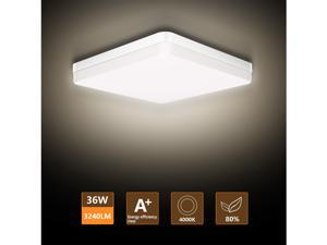 LED Flush Mount Ceiling Light, Ouyulong 36W 3240LM 4000K 8.97 Inch Square Non-dimmable Ceiling Light Fixture for Kitchen, Bedroom, Living Room, Hallway, Basement, Office and More(Natural White)