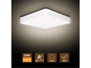LED Flush Mount Ceiling Light, Ouyulong 24W 2160LM 4000K Square Non-dimmable Ceiling Light Fixture for Kitchen, Bedroom, Living Room, Hallway, Basement, Office and More(Natural White)