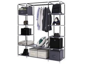 """69"""" Portable Clothes Closet Wardrobe Storage Organizer with Non-Woven Fabric Quick and Easy to Assemble Extra Strong and Durable Gray"""