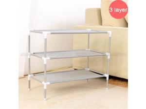 Simple Assembly 3 Tiers Non-woven Fabric Shoe Rack Gray