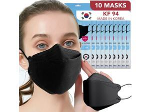 [10 PACK] Black Disposable KF94 Face Safety Masks 4-Layer Filters Breathable Comfortable Protection Nose Mouth Covering Dust Mask Men Women Kids