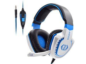 Gaming Headset Bass Surround Sound Stereo PS4 Headset with Flexible Microphone Volume Control Noise Canceling Mic Over-Ear Headphones Compatible for PS4 Xbox one Laptop PC Mac