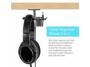 Aluminum Headphone Hanger Hook Tape Under Desk Dual Headset Mount Holder