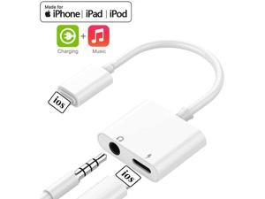 Headphone Adapter for iPhone 11 pro 3.5mm car Charger Dongle Cable Headphone Jack Adapter for iPhone/Xs Max/XR/8/Plus/7/7Plus Audio Splitter Accessory Supports 2 in 1 Earphone Splitter Support All iOS