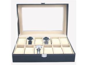 Faux Leather 12 Slot Watch Display Box Case Organizer Jewelry Storage Box Ring Earring Watch Watch Box Jewelry Display Cabinet