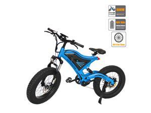 """AOSTIRMOTOR Electric Mountain Bike 20"""" 4.0 inch Fat Tire Ebike, 500W motor, 48V 10AH Removable Lithium Battery, Electric Bicycle for Adults S18-M(Blue)"""