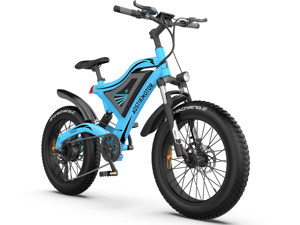 """AOSTIRMOTOR Electric Mountain Bike 20"""" 4.0 inch Fat Tire Ebike, 500W motor, 48V 15AH Removable Lithium Battery, Electric Bicycle for Adults S18-M(Red)"""