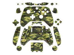 Hydro Dipped Replacement Camouflage Green Housing Shell Set for Xbox One S Slim (3.5 mm Headphone Jack) Controllers for 1708 Version