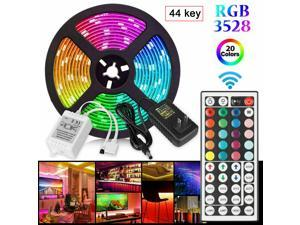 5M 300LED 3528 RGB SMD LED Strip Light 16FT+44Key Remote+12V Power Kit Room Car