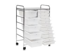 15 Drawers Rolling Storage Cart Organizer-clear