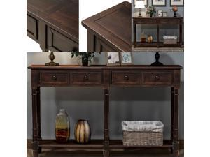 Console Table Sofa Table Easy Assembly with Two Storage Drawers Bottom Shelf for Living Room, Entryway Espresso Espresso