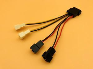 Computer Cooling Fan Power Cables 4Pin Molex to 3Pin Fan Power Cable Adapter Connector 12v*2/5v*2 for CPU PC Case Fan Cables
