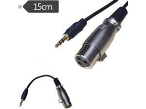 """3.5mm 1/8"""" male to 3Pin XLR female stereo audio mixer amp cable 0.15m,As picture"""