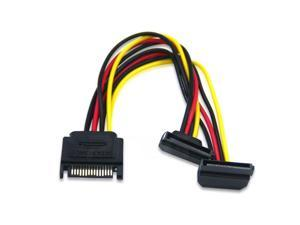 SATA Right Angle 1 to 2 ways 15Pin Sata  Power Supply Extension Cable Male to dual Female SATA SSD Power Port Multiplier,0.2m