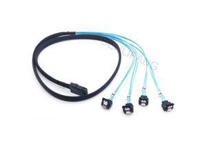 1M Mini-SAS SFF-8087 to 4 SATA Cable Mini SAS 4i SFF8087 36P To 4 SATA 7P Cable 12Gbps  Hard Drive Cable