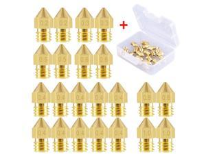 22 Pieces 3D Printer Nozzles MK8 Nozzle 0.2mm, 0.3mm, 0.4mm, 0.5mm, 0.6mm, 0.8mm, 1.0mm Extruder Print Head with Storage