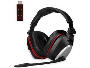 HUHD 2.4G USB Wireless Gaming Headset for PC PS4 Switch with 7.1 Surround Sound Deep Bass- Rotating Metal Ear Cups